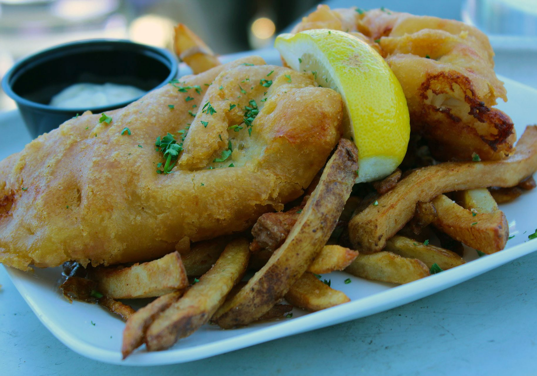 Fish & Chips at O'Reilly's Rooftop Patio